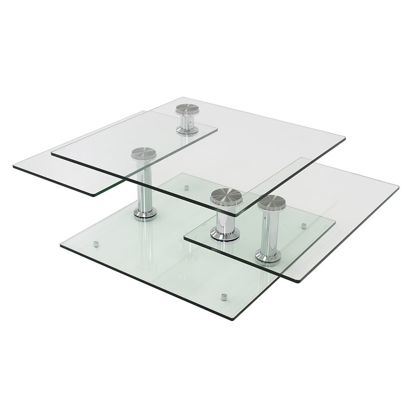 Square Clear Silver Motion Coffee Table Main Image 1 Of 6 Images