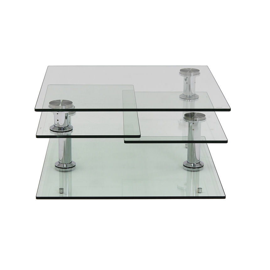 Square Clear Silver Motion Coffee Table  alternate image, 2 of 6 images.