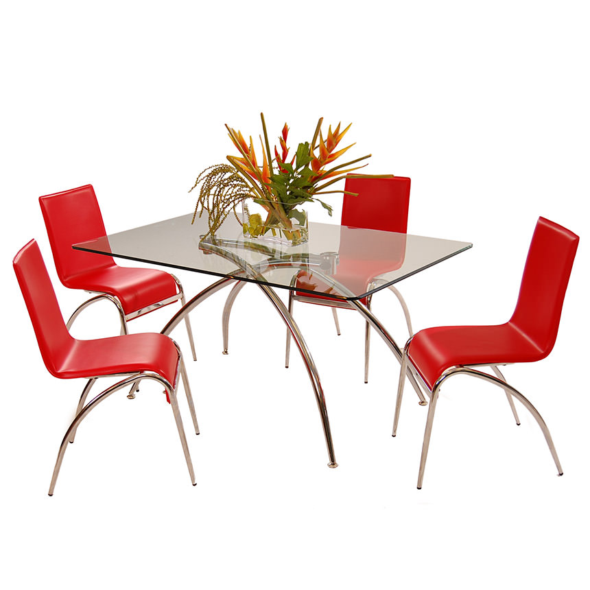 Elaine Red 5-Piece Casual Dining Set  main image, 1 of 9 images.