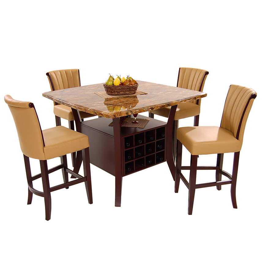 Meredith Tan 5 Piece High Dining Set Main Image, 1 Of 10 Images.