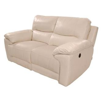 Macklein Cream Power Motion Leather Loveseat
