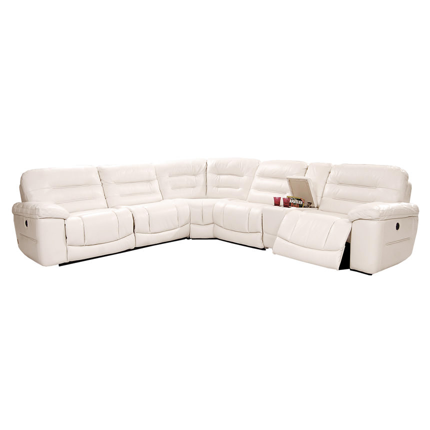 Sheree White Power Motion Leather Sofa w/Right & Left Recliners  main image, 1 of 7 images.