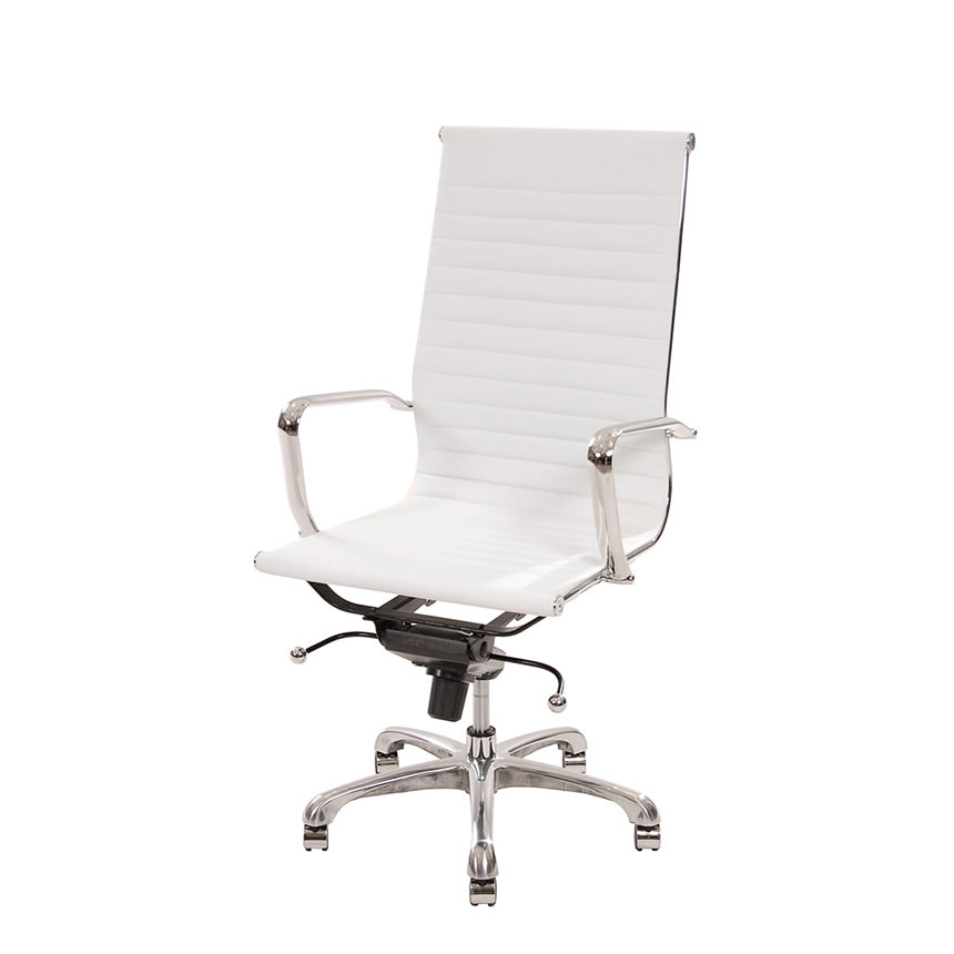 Watson White High Back Desk Chair  main image, 1 of 7 images.