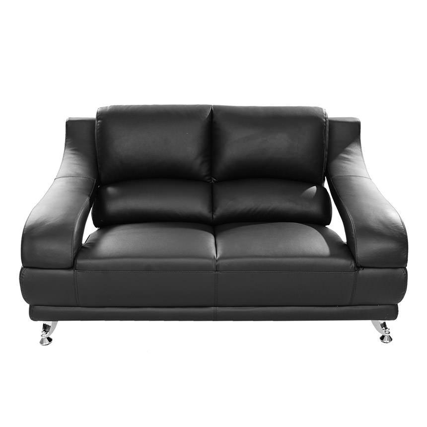 Superbe Jedda Black Leather Loveseat Alternate Image, 2 Of 6 Images.