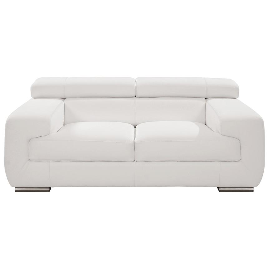 Grace White Leather Loveseat Main Image, 1 Of 9 Images.