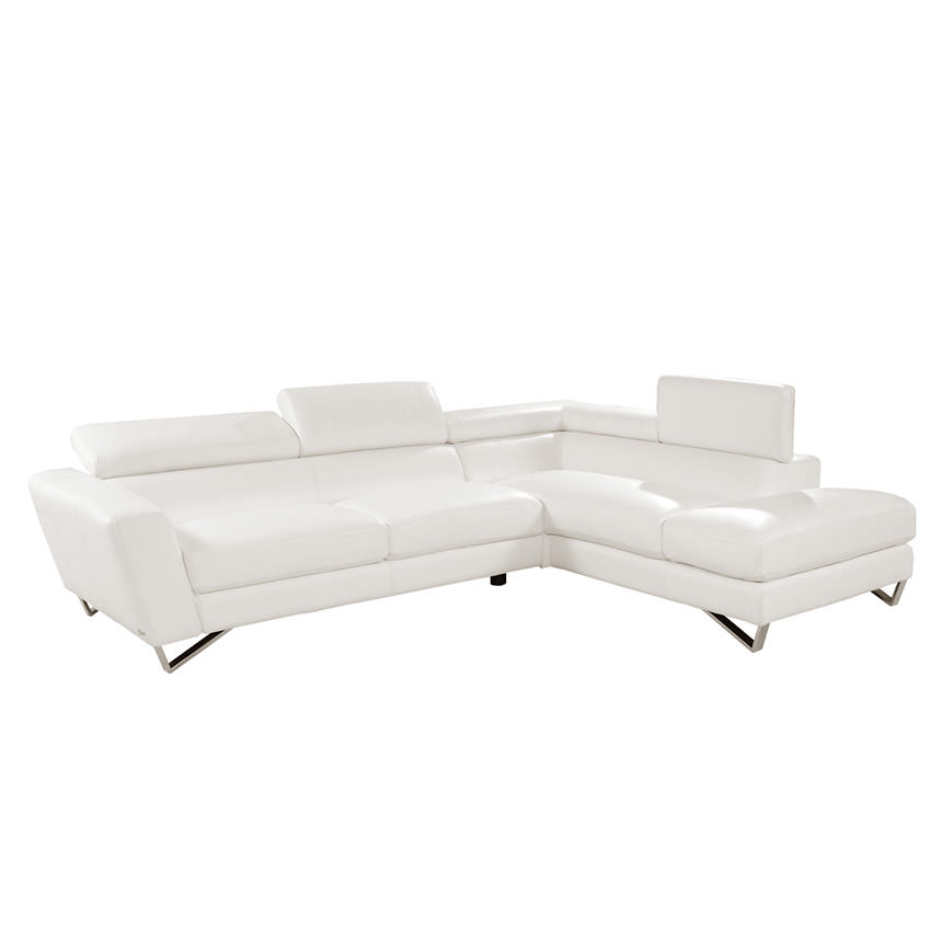 Sparta White Leather Sofa W Right Chaise Main Image 1 Of 7 Images