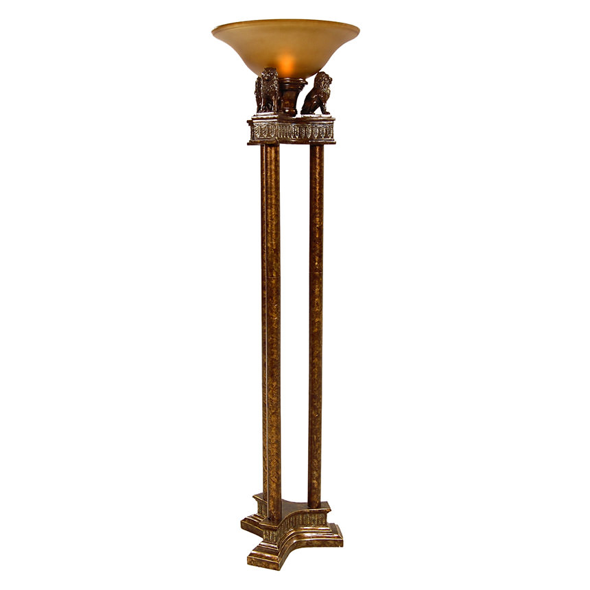 Captivating Lions Torchiere Floor Lamp Main Image, 1 Of 4 Images.