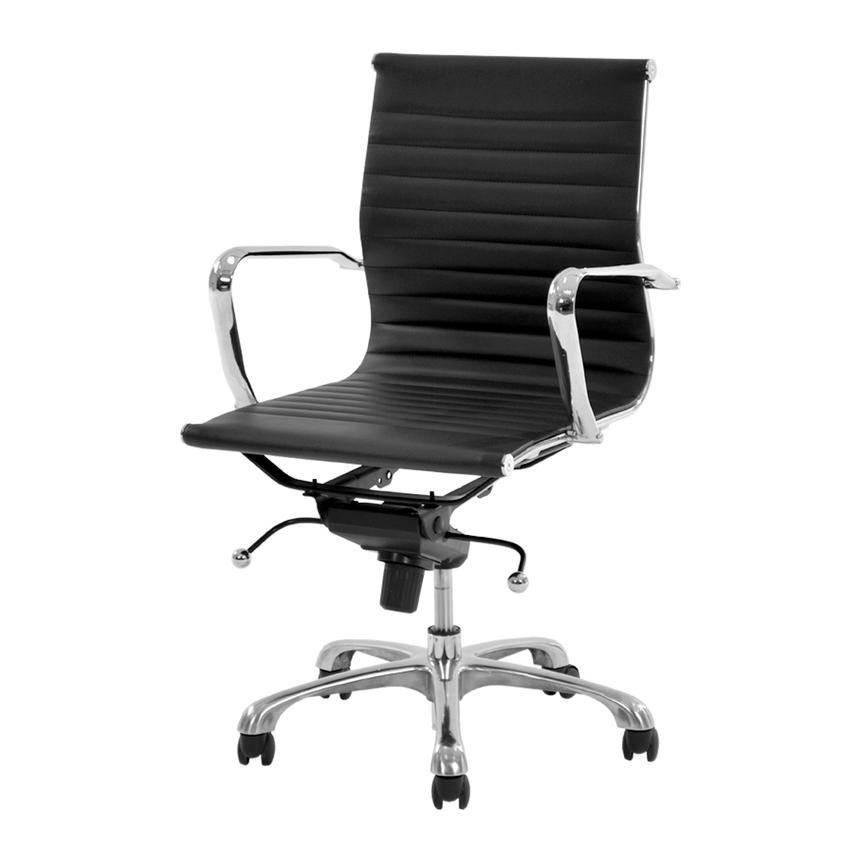 Watson Black Low Back Desk Chair  main image, 1 of 7 images.