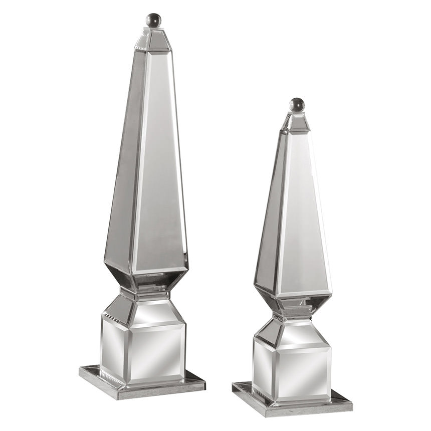 Alanna Set of 2 Finial Mirrored Table Décor