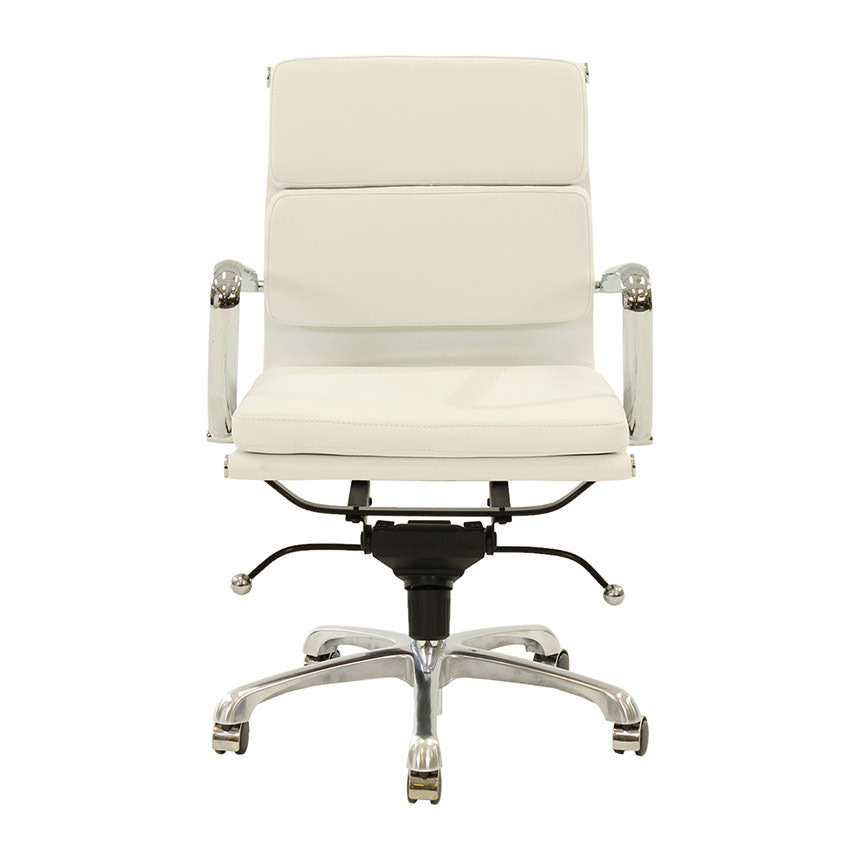 Marconi White Low Back Desk Chair  alternate image, 2 of 6 images.