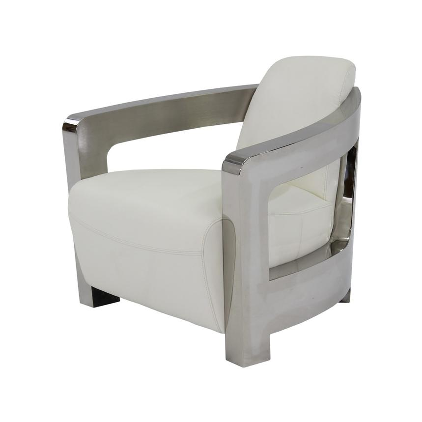 Aviator White Leather Accent Chair Main Image, 1 Of 6 Images.