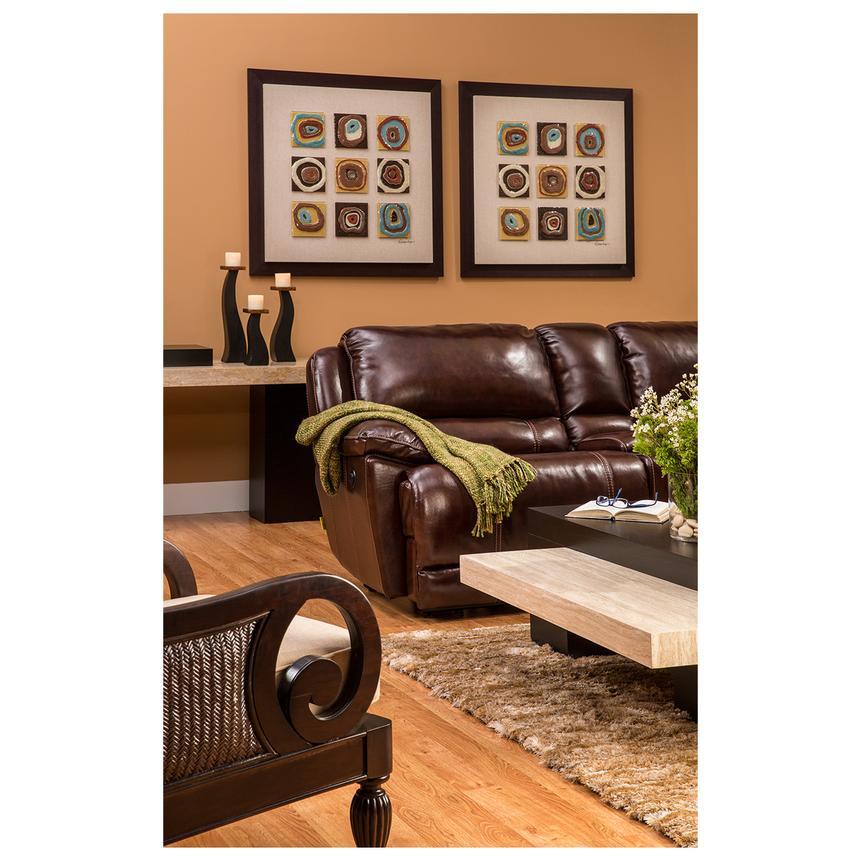 Theodore Burgundy Power Reclining Leather Sofa El Dorado