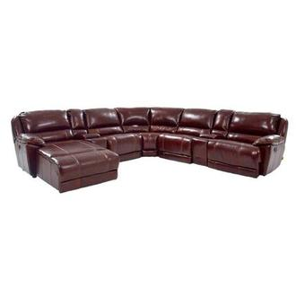 Theodore Burgundy Power Motion Leather Sofa w/Left Chaise