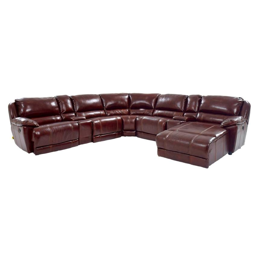 Theodore Burgundy Power Motion Leather Sofa W/Right Chaise Main Image, 1 Of  8