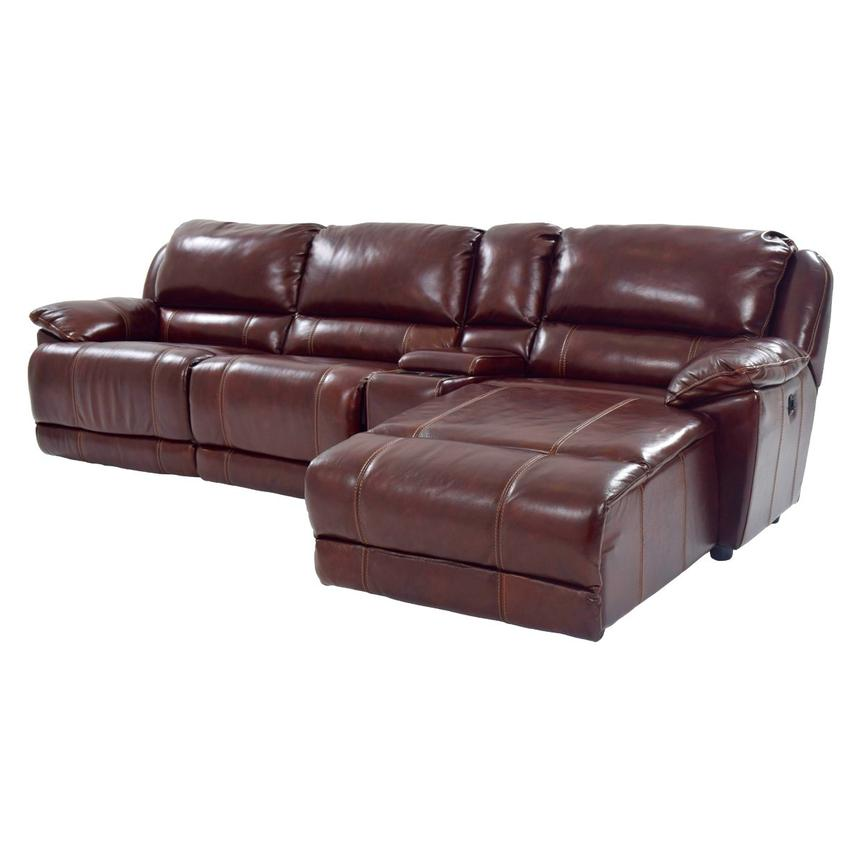 Theodore Burgundy Power Motion Leather Sofa w/Right Chaise  main image, 1 of 9 images.