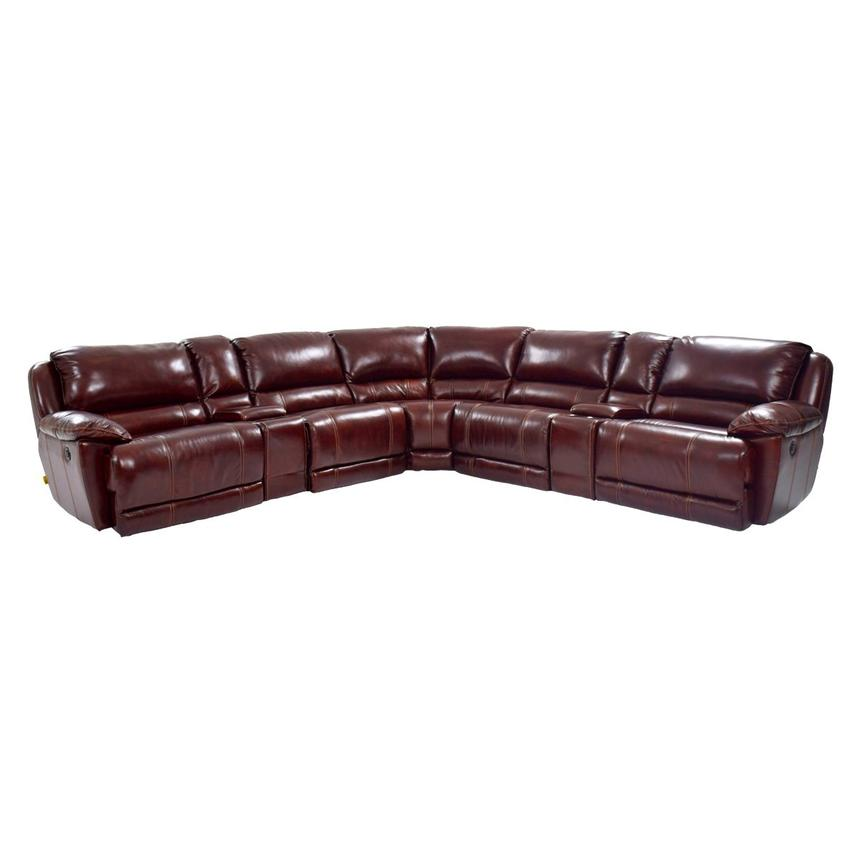 Theodore Burgundy Power Motion Leather Sofa w/Right & Left Recliners  main image, 1 of 9 images.