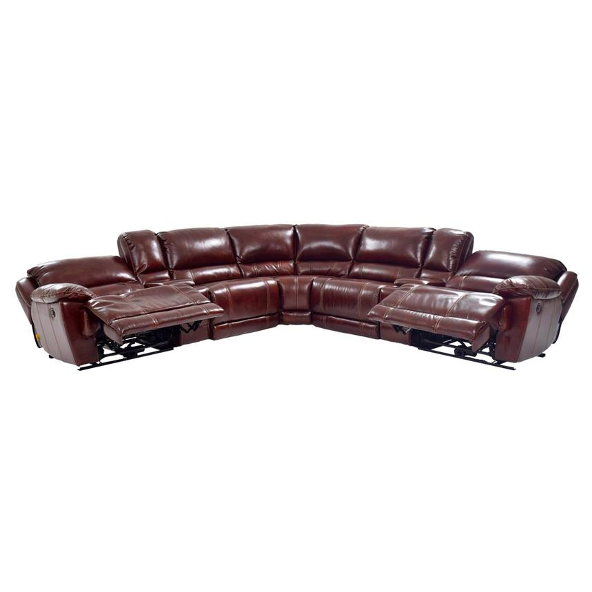 Theodore Burgundy Power Reclining Leather Sofa  alternate image, 4 of 8 images.