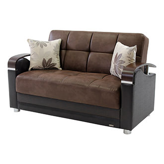 Peron Chocolate Futon Loveseat