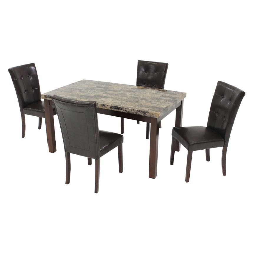 Achillea Brown 5-Piece Casual Dining Set  main image, 1 of 10 images.