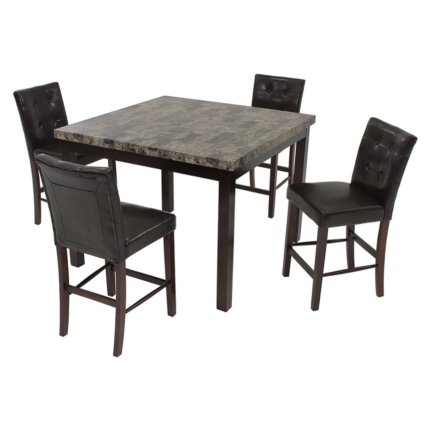 Achillea Brown 5-Piece High Dining Set  main image, 1 of 9 images.