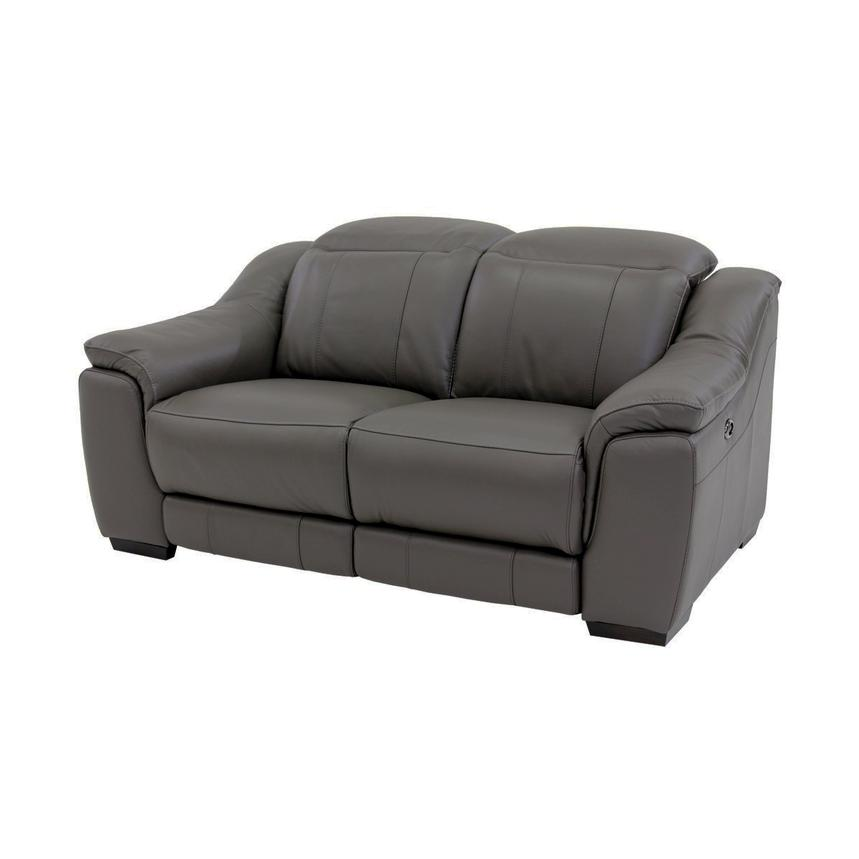 Davis Gray Power Motion Leather Loveseat  main image, 1 of 9 images.