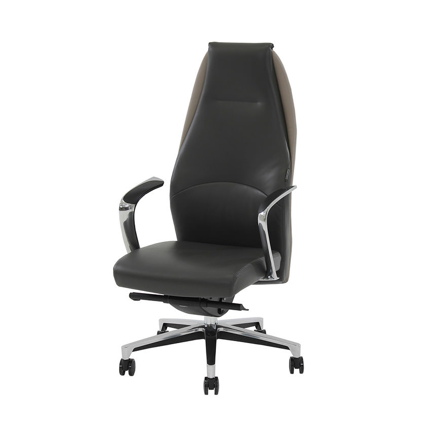 Prector Gray Leather Desk Chair  main image, 1 of 9 images.
