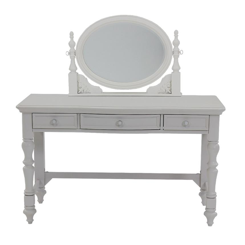 Sweet Pea White Vanity Desk w/Mirror  main image, 1 of 9 images.