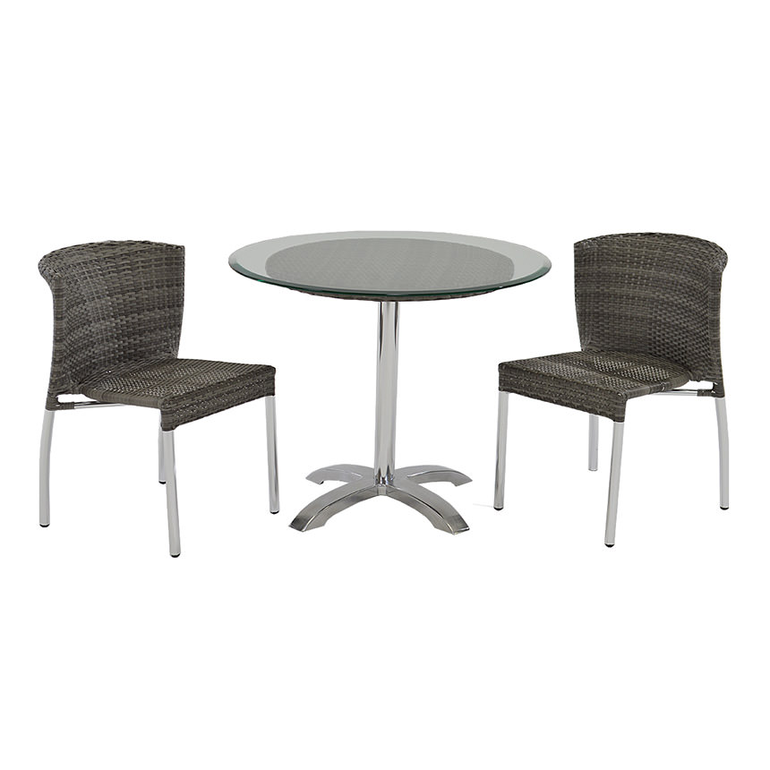 Gerald Gray 3-Piece Patio Set w/10mm Glass Top  main image, 1 of 7 images.