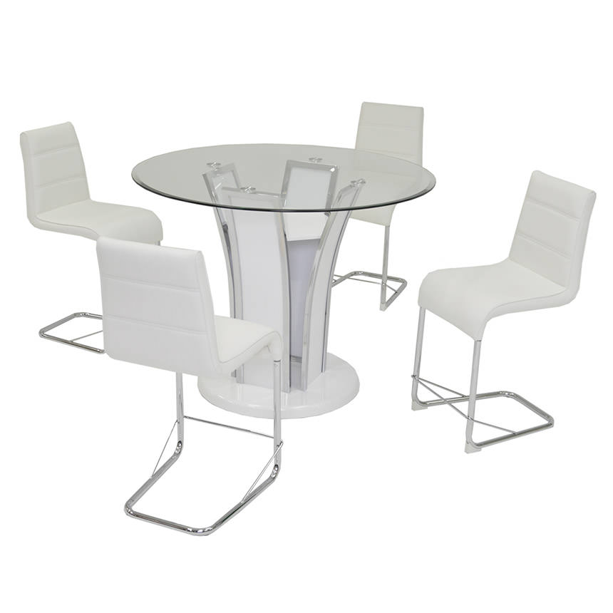 Dash White 5 Piece High Dining Set Main Image, 1 Of 9 Images.