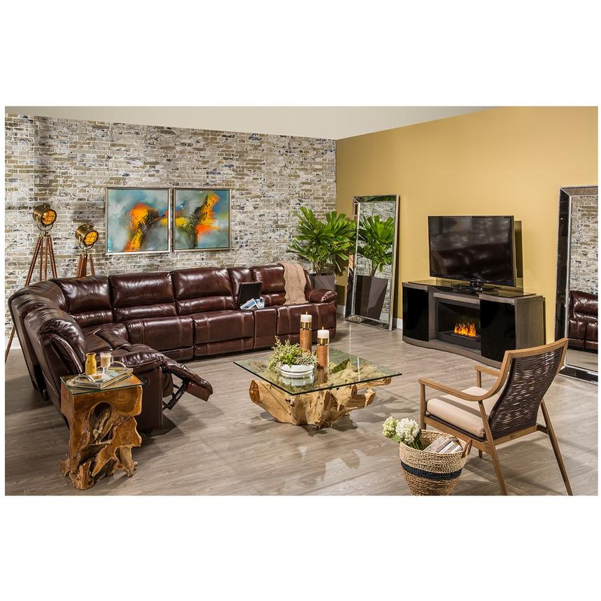 Theodore Burgundy Power Motion Leather Sofa W/Right U0026 Left Recliners  Alternate Image, 2