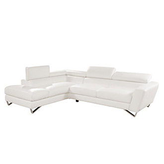 Sparta White Leather Sofa W/Left Chaise