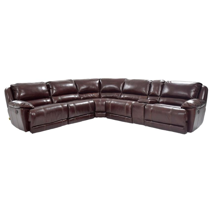 Theodore Brown Power Motion Leather Sofa w/Right & Left Recliners  main image, 1 of 6 images.
