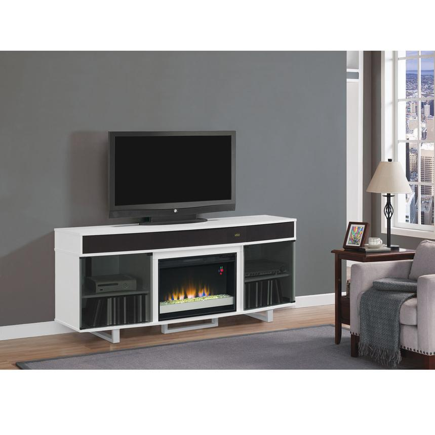 Enterprise White Faux Fireplace W Speakers El Dorado Furniture