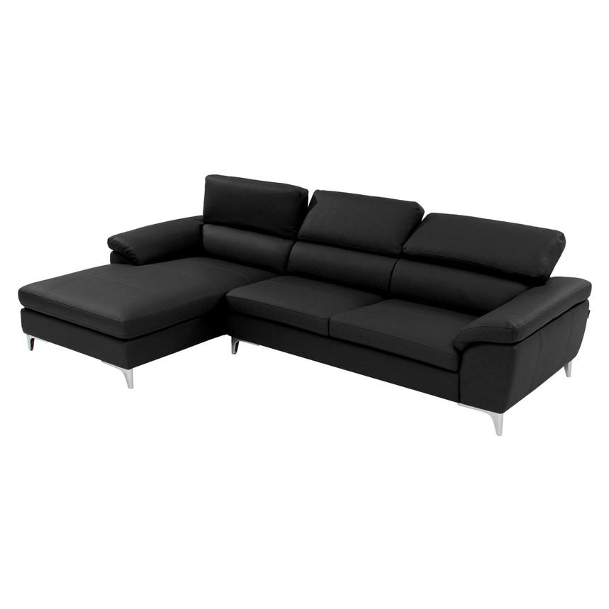 Costa Black Sofa w/Left Chaise  alternate image, 2 of 6 images.