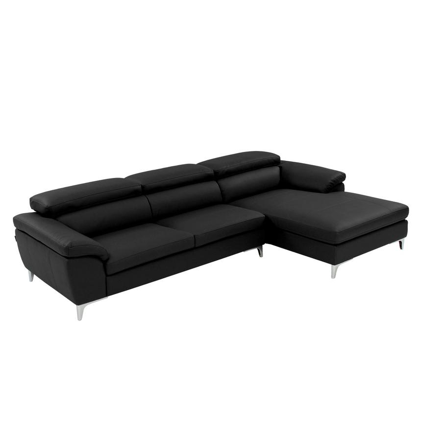 Costa Black Sofa w/Right Chaise  main image, 1 of 6 images.