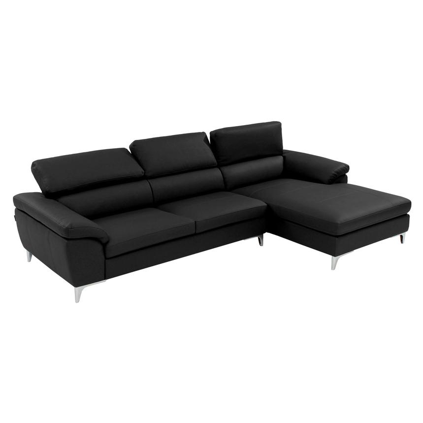 Costa Black Sofa w/Right Chaise  alternate image, 2 of 7 images.