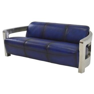 Aviator Blue Leather Sofa
