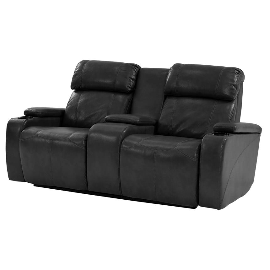 Magnetron Black Power Motion Sofa w/Console  main image, 1 of 8 images.