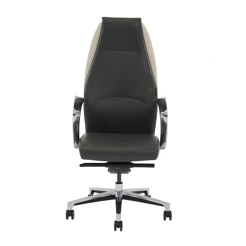 Prector Black/White Leather Desk Chair  alternate image, 2 of 7 images.