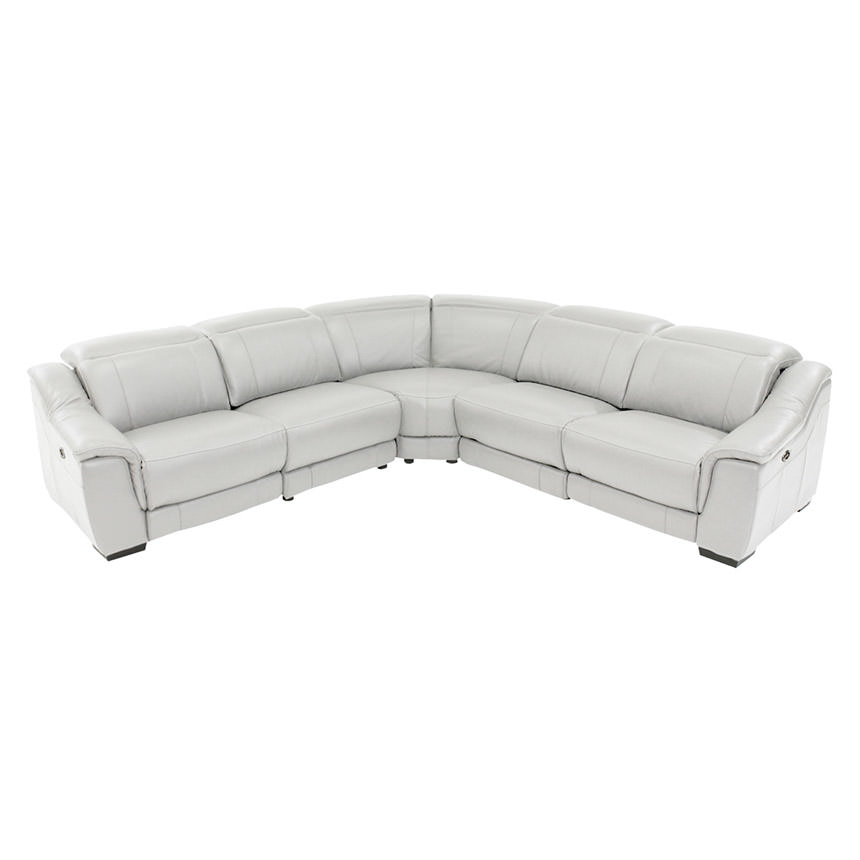 Davis White Power Motion Leather Sofa w/Right & Left Recliners  main image, 1 of 10 images.