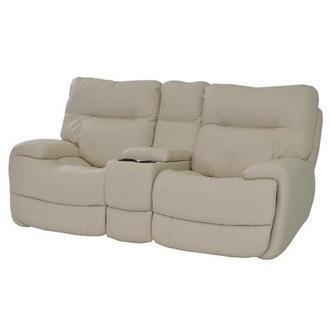 Evian Cream Power Motion Leather Sofa W/Console