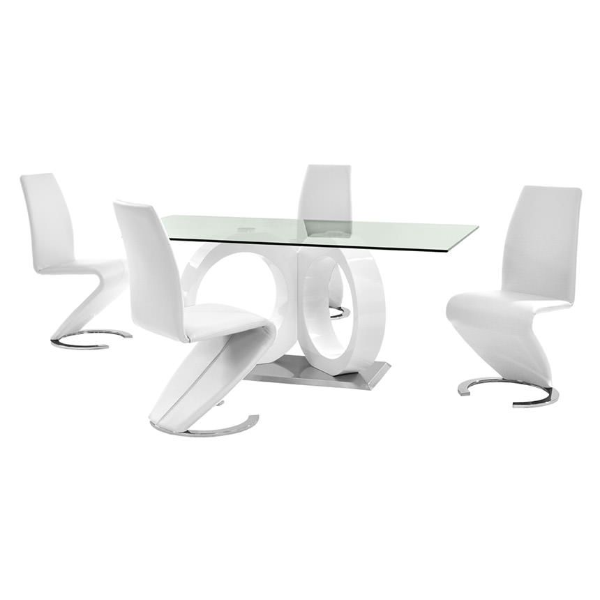 Stop 36 White 5-Piece Formal Dining Set  main image, 1 of 11 images.