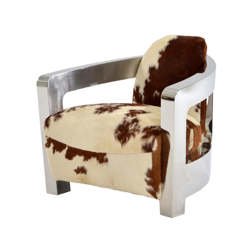 Bon Aviator Brown Cowhide Leather Accent Chair Main Image, 1 Of 8 Images.