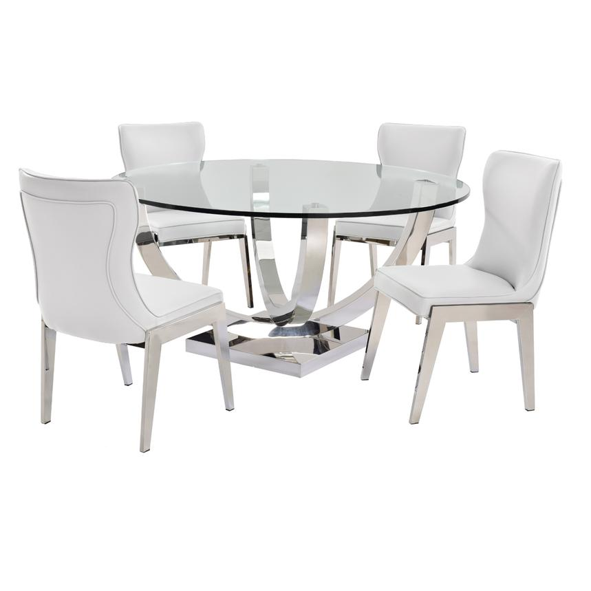 Onyx White 5-Piece Formal Dining Set  main image, 1 of 9 images.