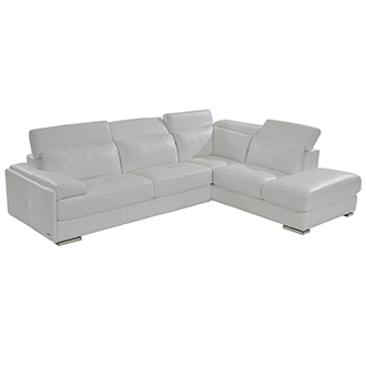 Kennedy White Leather Sofa w/Right Chaise
