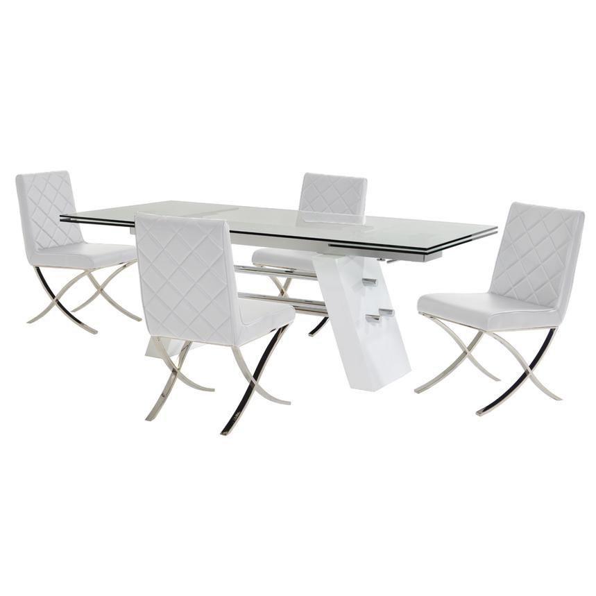 Slide White 5-Piece Formal Dining Set  main image, 1 of 12 images.