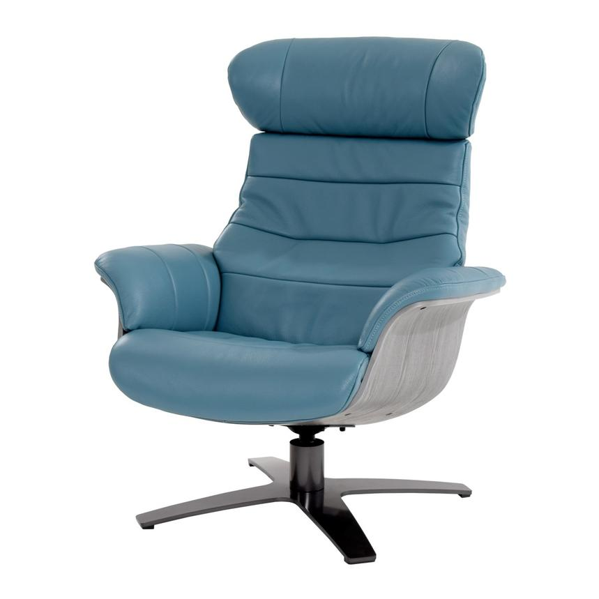 Enzo Blue Leather Swivel Chair  main image, 1 of 10 images.