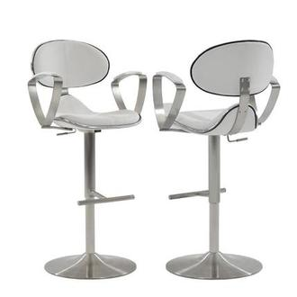 Jaylo White Adjustable Stool