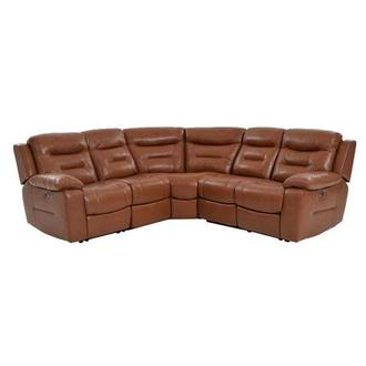 Berkeley Cognac Power Motion Leather Sofa w/Right & Left Recliners