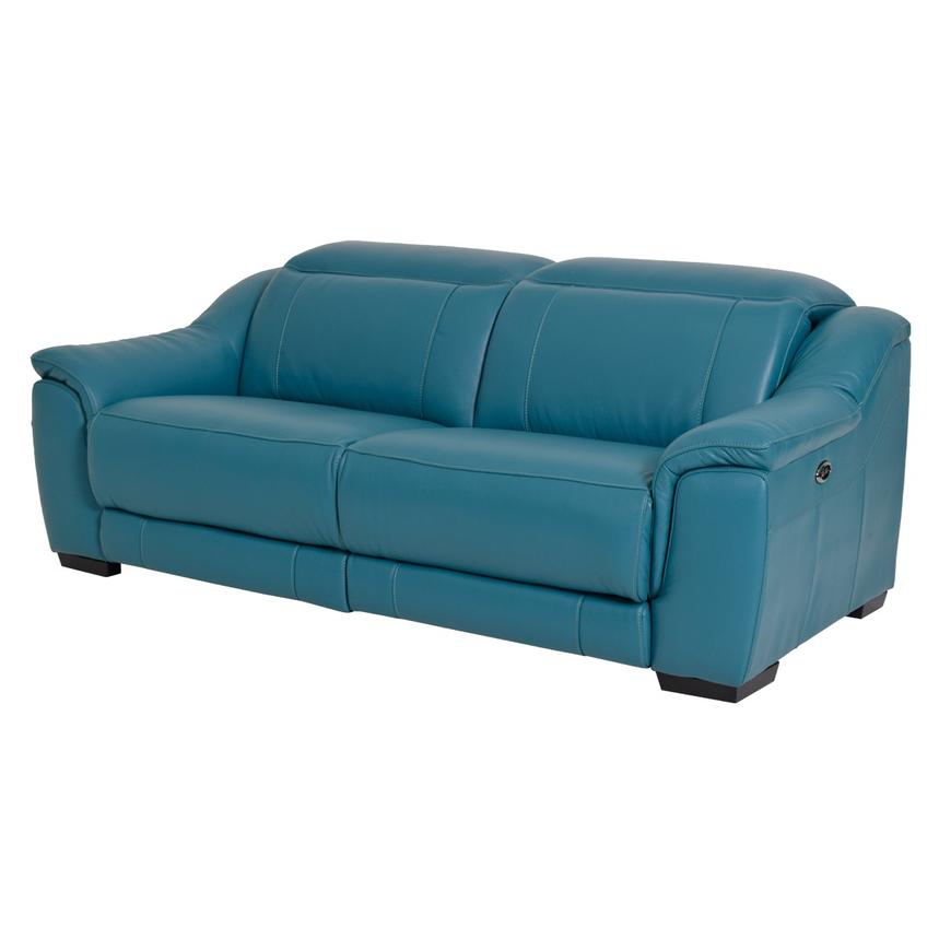 Davis Blue Power Motion Leather Sofa Main Image, 1 Of 8 Images.